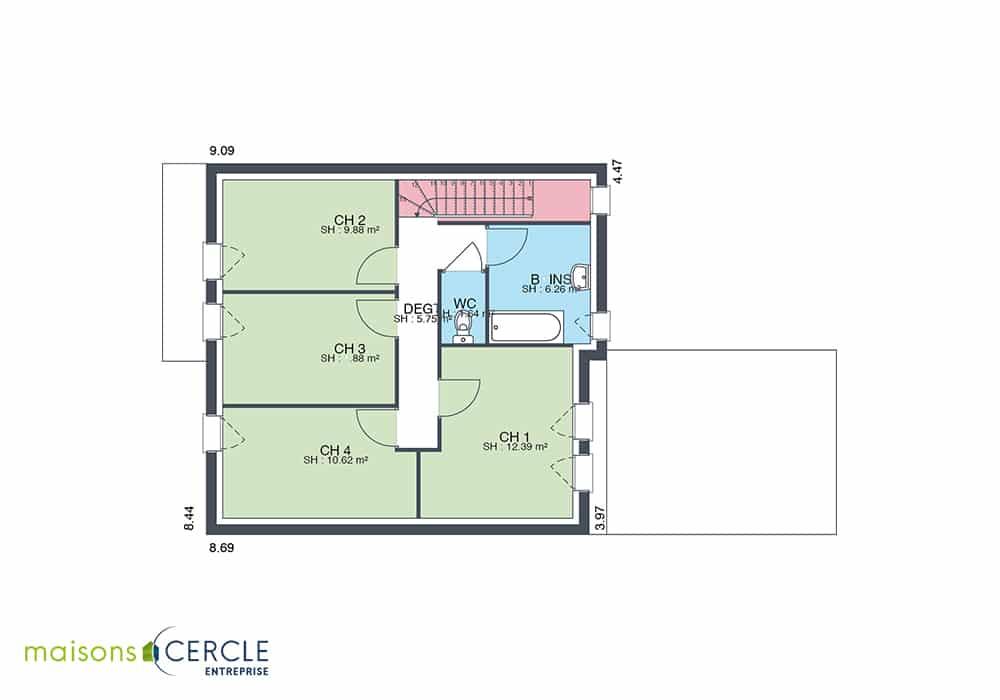 Modèle maison 3D avec étage