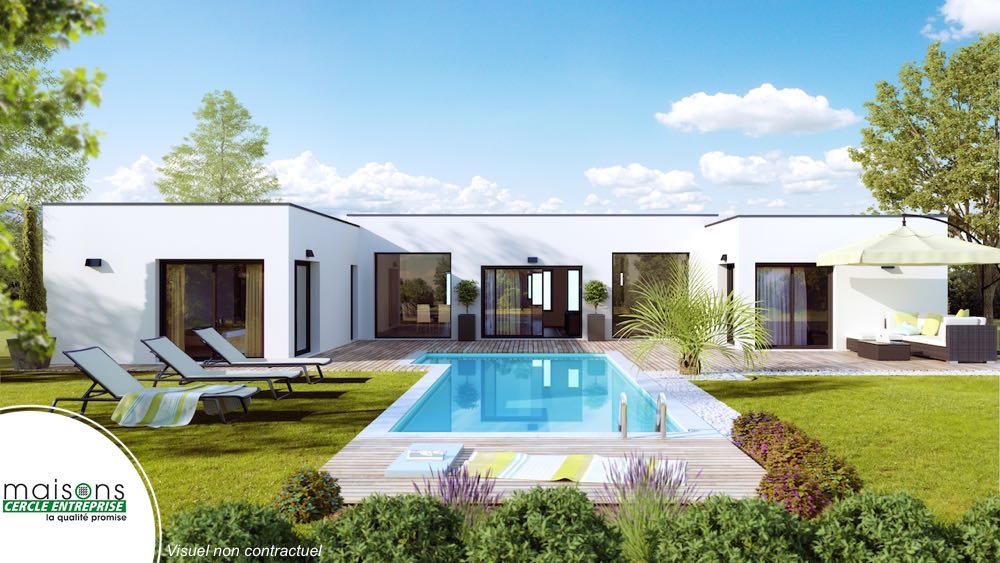 Esthetia maison contemporaine plan en h for Plan maison contemporaine en l