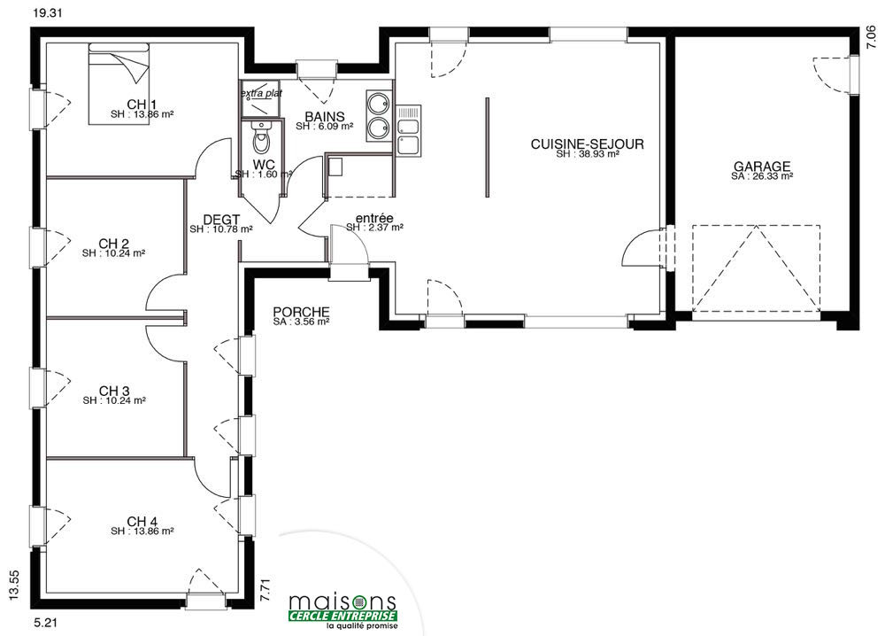 Maison contemporaine plain pied for Plan de maison de 90m2