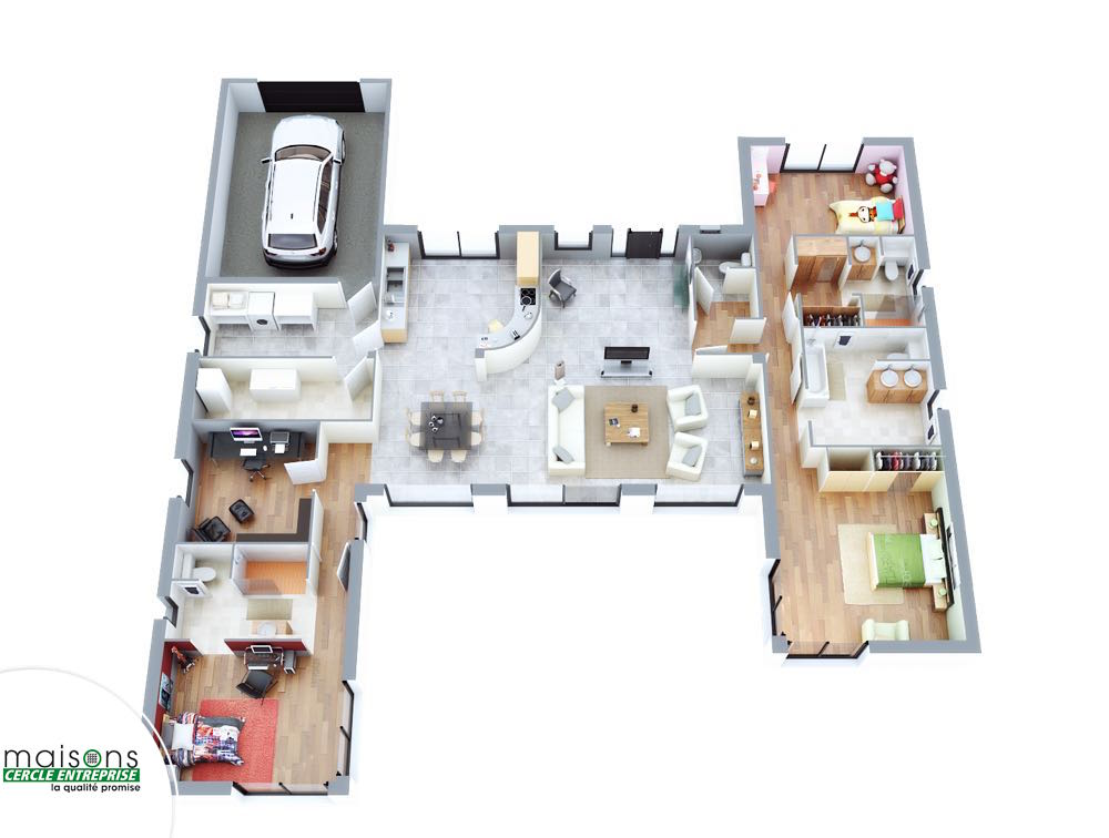 Esthetia maison contemporaine plan en h for Maison plan 3d