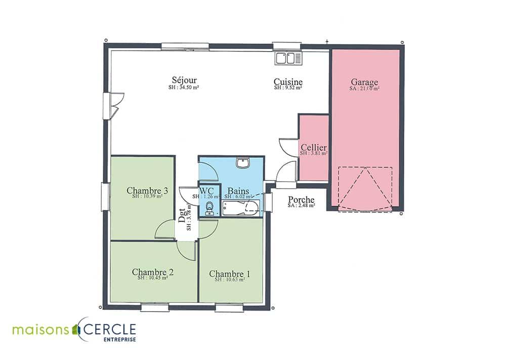 Plan maison en forme L 90m2