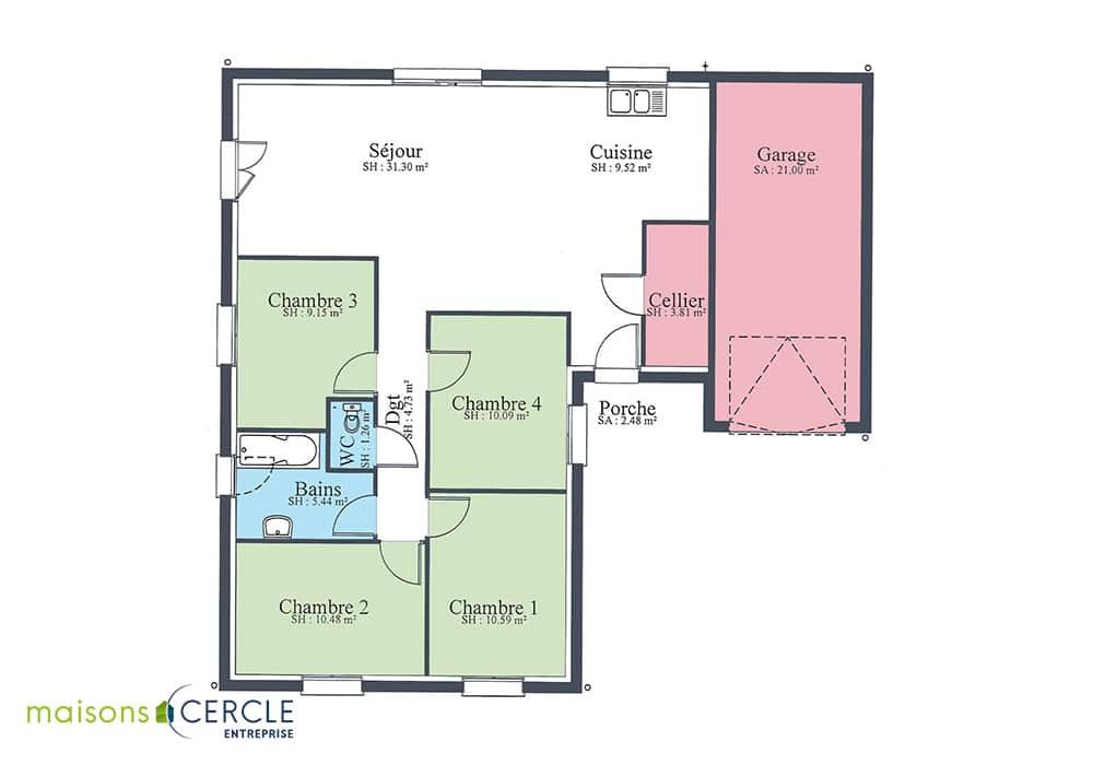 Plan maison modèle design 96m2