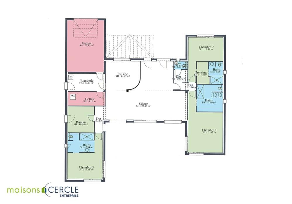 Esthetia maison contemporaine plan en h for Modele maison plan