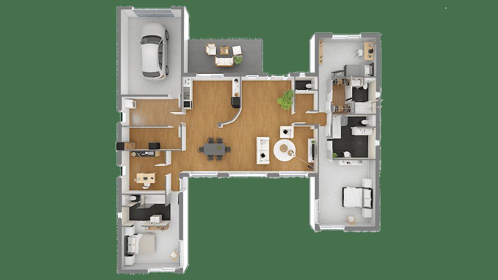 Esthetia maison contemporaine plan en h for Photo de plan de maison