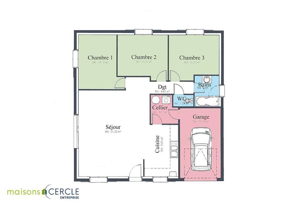 Maison de plain pied avec trois chambres
