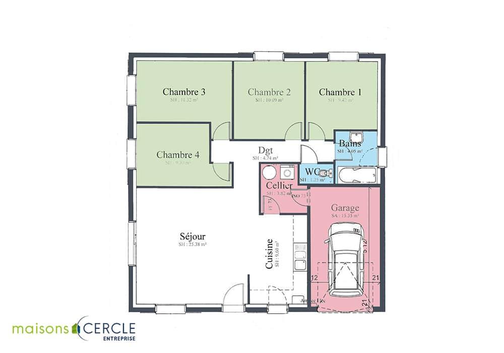 Maison de plain pied avec 4 chambres