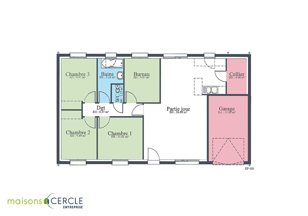 Plan maison Design 90m2