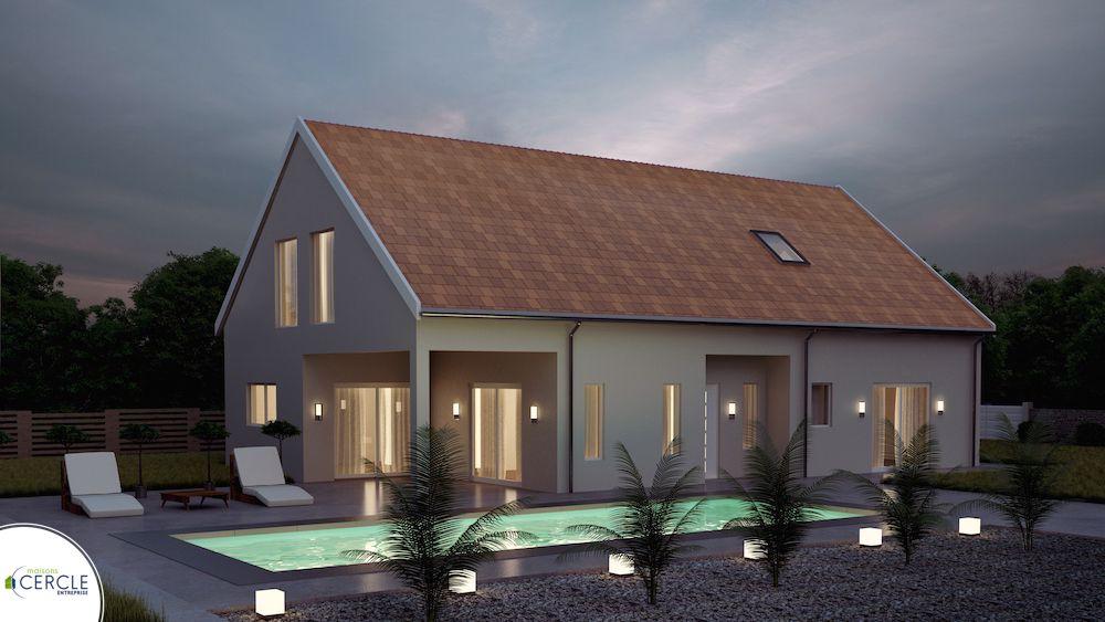 maison contemporaine avec porche et auvent