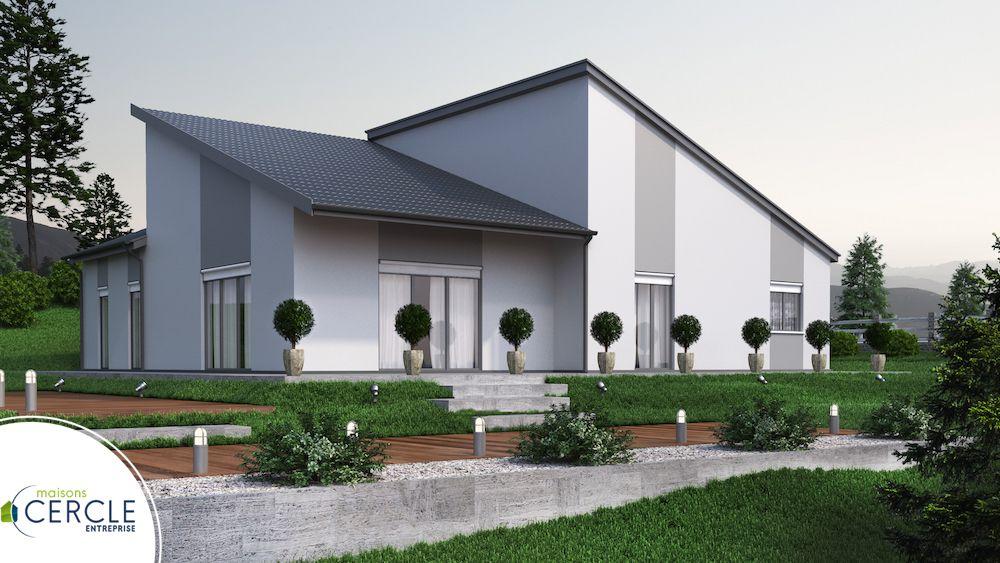Maison Moderne avec toiture en double pente inversée