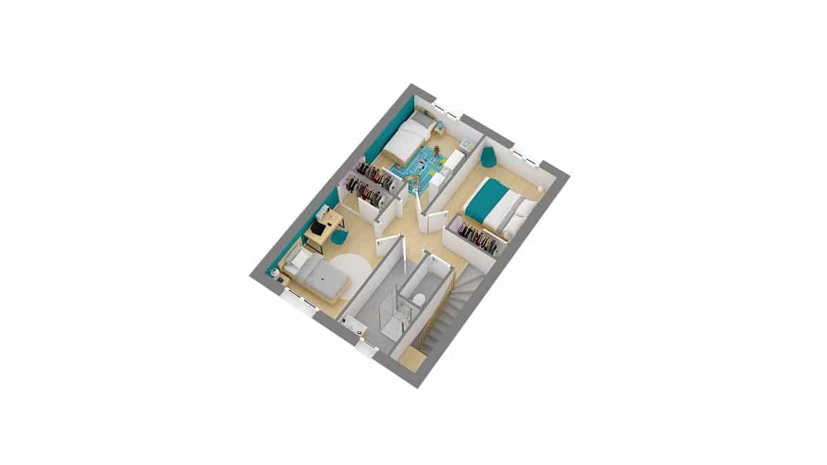 Maisons Cercle ENtreprise-Extensia-g1-axo_etage
