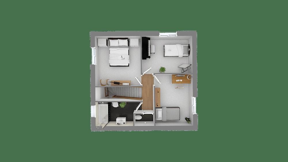plan maison Cairanne_f5-Etage-Vuededessus