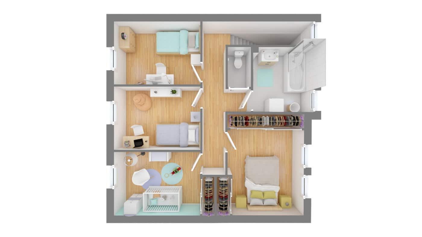 Constructeur Cercle Entreprise Maison moderne contemporaine _SYMPHONIE_115-f1-vue_de_dessus_etage
